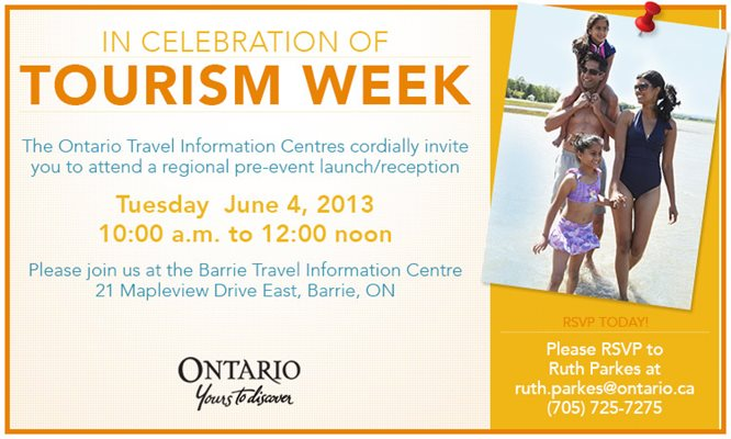 Let's Celebrate Tourism 2013 Event in Barrie on June 4th